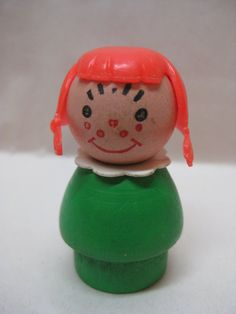 Girl Orange Green Little People Fisher Price Plastic Wood Toy Vintage Red Head Fisher Price Toys, Vintage Fisher Price, 1980s Childhood, Childhood Memories, Retro Toys, Vintage Toys, Wood Toys, Little People, Makers Mark