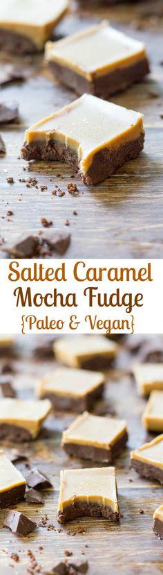 Salted caramel mocha fudge - Paleo & Vegan. Insanely delicious vegan and Paleo dessert with two layers - mocha and salted caramel. Rich, creamy, perfectly addicting fudge!