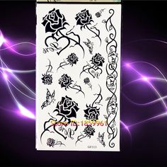 14bad21ec Black Henna Roses Temporary Tattoo Women Makeup PArty Body Art Fake Tatoo  paste 17X810CM Lace Chains