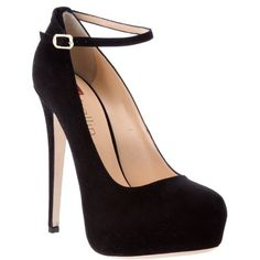 black wedge pumps with ankle strap | KOI COUTURE BLACK SUEDETTE ...