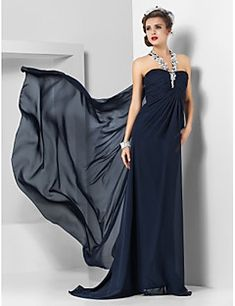 Robe de soirée en mousseline de soie / colonne à balai / balançoire à pied par ts couture®