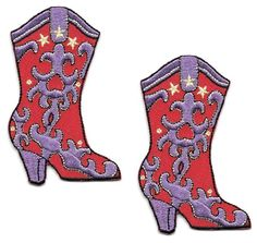 Cowgirl Boot - Western Boots - Embroidered Iron On Applique Patch - Set Of 2