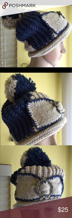 NEW-Cute Beige & Blue Knit Beanie Hat NEW-Cute Beige & Blue Knit Beanie Hat, great for cold weather season. One size fits all. Wear it any direction. Matches your outfit. You can fold up or down, in any style. Beige & blue color mixed. Enjoy! Accessories Hats