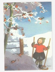 Check out: Martta Wendelin-Finnish Christmas Art, Vintage Christmas, Nostalgic Images, Ski, Vintage Greeting Cards, Scandinavian Christmas, Children's Book Illustration, Vintage Pictures, Finland