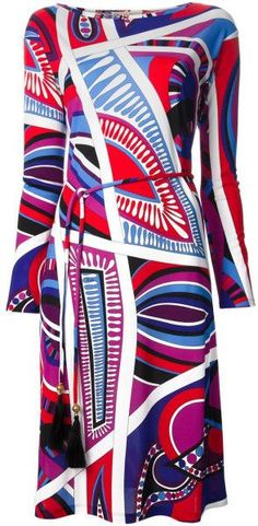 Multicolored Pattern Print Silk Blend Dress