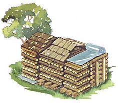 The science of stacking fire wood.  Arrange for proper air flow and drainage when stacking firewood. A peaked roof of overlapping splits, shingles, tarp, or plastic will do the job nicely.