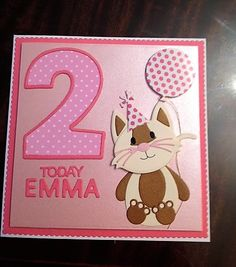 2nd Birthday Card - Tattered Lace Tiny Tubs Cat Die With Tonic Number Die. To purchase my cards please visit CraftyCardStudio on Etsy.com. My Daughter Birthday, Girl Birthday, Birthday Ideas, Birthday Cards, Baby Cards, Kids Cards, Tattered Lace Cards, Cardmaking And Papercraft, Die Cut Cards