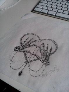 in progress, love never ends, love forever tattoo, skeleton hands, heart, skull hands