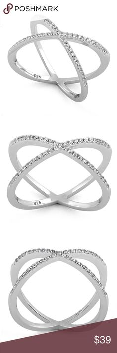 Sterling Diamond CZ X Criss Cross Ring NWT Brand new and super on-trend! Top of ring height: 1.8mm Band width: 12mm Shank width: 1.6mm Stone material: clear cubic zirconia Stone shape: roundN/A Total number of CZ stones: 45 Stone setting: prong setting Metal: 925 sterling silver Plating: rhodium plated Finish: high polish Jewelry Rings
