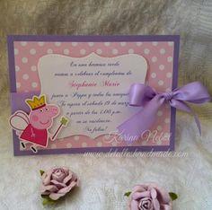 Buenos días   Hoy les muestro unas invitaciones que hice hace un tiempo,   son de Peppa Pig, estilo princesa.   Tal como les he mencionad...