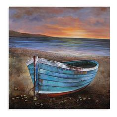 Bassett Mirror - Bassett Mirror Hand-Painted Canvas, Fun Day Complete - Reminisce about all your fun days with this beautiful hand-painted canvas depiction of a quaint teal rowboat resting along the shores of the calm water's edge. The large square canvas will bring an elegant focal point to your dining room, family room, or bedroom, and the romantic color palette will keep the memories of those fun days ever-present.
