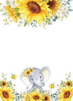 Baby Girl Shower Themes, Baby Shower Invitations For Boys, Baby Boy Shower, Baby Theme, Sunflower Nursery, Sunflower Baby Showers, Elephant Love, Elephant Art, Elephant Wallpaper