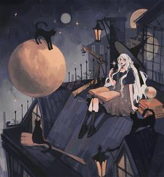 Witch Aesthetic, Aesthetic Art, Pretty Art, Cute Art, Character Art, Character Design, Witch Drawing, Anime Witch, Nature Witch