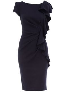 Navy frill front dress - Day Dresses - Dresses - Dorothy Perkins United States - StyleSays