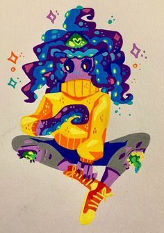 By Steph Luna 🌙⭐ @lunarjokester (Monster Prom - Zoe) Monster High Art, Monster Prom, Animal Drawings, Cute Drawings, Magia Elemental, Character Art, Character Design, Aliens, Cute Art Styles