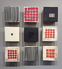 "Black and White and Red Nine by Lori Katz (Ceramic Wall Sculpture) (16"" x 16"")"