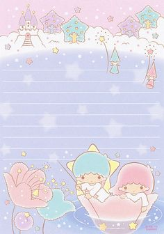 """Little Twin Stars """"Under starry sky"""" memo pad, as courtesy of Sanrio My Melody Wallpaper, Sanrio Wallpaper, Hello Kitty Wallpaper, Memo Notepad, Hello Kitty My Melody, Cute Stationary, Printable Scrapbook Paper, Cute Notes, Little Twin Stars"""