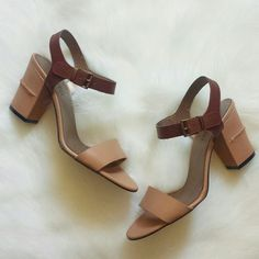 """Nude Block Heel Sandal New in box. Gorgeous for summer. Perfectly neutral color block sandals for all occassions. Dress up with dresses or wear casual w denim.   Nude toe strap/heel with tan ankle strap. Incudes individual shoe dusters (generic).  - Open toe - Contrast ankle strap with adjustable buckle closure - Covered block heel with back seam detail - Approx. 3.25"""" heel - Imported Materials: Leather upper and sole Vaneli Shoes"""