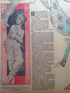 E. I. Hoppe of #London photo of Tamara Karsavina in #Scheherazade. Article from the New Orleans Item newspaper dated January 10, 1915 featuring Tamara #Karsavina and Leon #Bakst with photos from E #Hoppe. Copyright