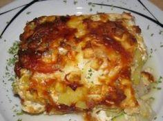 Kartoffel-Zucchini Auflauf mit Schinken und Feta