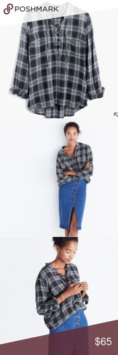 Madewell Terrace Lace Up Top in Owens Plaid Lace up top in a gray and white plaid. Brand new with tags. Sold out in this size online. Madewell Tops