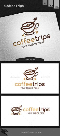 Coffee trips Logo Design Template Vector #logotype Download it here…
