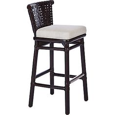 McGuire Furniture: Laced Rawhide Counter Stool: LO-355N. This one shown in Dark Tobacco (too deep for us) but also comes in Pecan, with same ecru linen cushion or in leather, too.