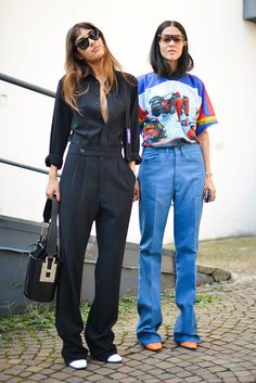 Patricia Manfield and Gilda Ambrosio at Milan Fashion Week.