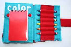 Drawing notebook. never thought of including this inside a felt book, always had a separate art bag..
