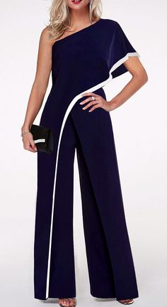 One Shoulder Navy Blue Contrast Trim Jumpsuit Blue Jumpsuits, Jumpsuits For Women, Jumpsuit With Sleeves, White Jumpsuit, African Fashion, Fashion Dresses, Womens Fashion, Emo Fashion, Clothes
