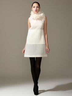 Silk Crepe Jacquard Ruffle Neck Dress by Giambattista Valli on Gilt.com