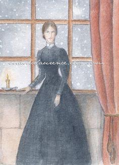 Jane Eyre watercolor from Masha Laurence. Literary Genre, Charlotte Bronte, Jane Eyre, Literature, Original Art, One Piece, Watercolor, Art Prints, The Originals