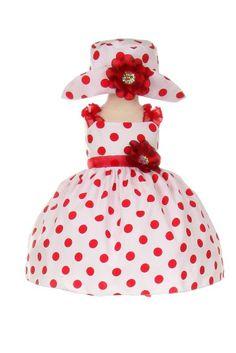 Bezauberndes Babykleid Giulia weiß mit Punkten in rot mit süßer Mütze Kleid Baby Punkte festlich für Hochzeit Taufe Party – Bild 2