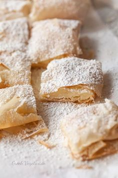 Bougatsa me Krema (Greek custard-filled pastry) an...