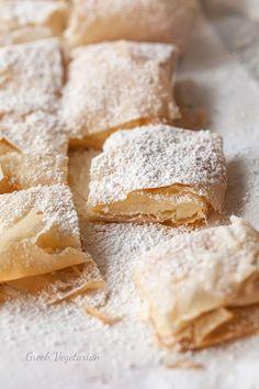 Bougatsa me Krema (Greek custard-filled pastry) an...