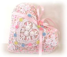 Sachet HEART Country Cottage Chic PINK Print ♥ by CharlotteStyle