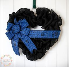 Police Officer Burlap Wreath, Thin Blue Line Wreath, LEO Wreath, Blue Lives Matter Too Wreath by VirgiesTreasures on Etsy