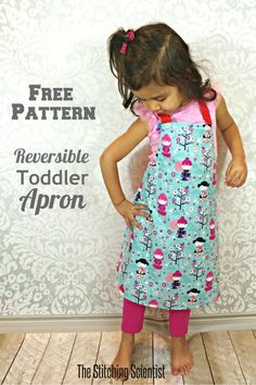 Reversible Toddler Apron with Free Pattern #apronpattern #freesewingpattern…