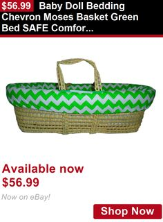 Moses Baskets: Baby Doll Bedding Chevron Moses Basket Green Bed Safe Comfortable Genuine Gift BUY IT NOW ONLY: $56.99