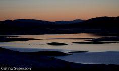 Solnedgång över Lossendammen i maj.
