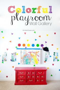 Colorful Playroom Wall Gallery of pictures with Pottery Barn Knock Off Paint set.