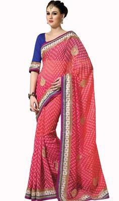 Cause others to yearn to look as beautiful as you dolled up in fuchsia embroidered jute silk saree. The stunning lace, patch, resham and stones work a intensive characteristic of this attire. Upon request we can make round front/back neck and short 6 inches sleeves regular sari blouse also. #ClassicalDesignTraditionalSaree