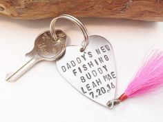 Personalized Fishing Lure Keychain for New Dad Gift for Daddy Stamped Key Chain for Men Custom Metal Keyring New Baby Grandpa Fishing Buddy by CandTCustomLures on Etsy https://www.etsy.com/listing/201461046/personalized-fishing-lure-keychain-for