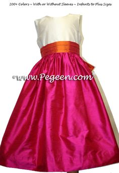 raspberry and mango flower girl dresses