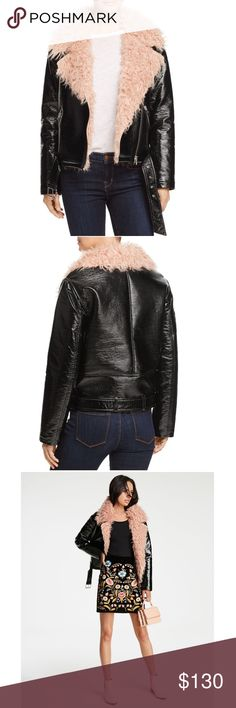 GLOSSY FAUX LEATHER MOTO JACKET WITH FAUX FUR Gorgeous faux leather jacket with pink faux fur!! This is a real statement jacket!! Jackets & Coats