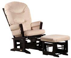 Dutailier Round Back Cushion Design Modern Glider and Ottoman Combo, Beige