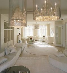 Interior: Luxury Living Area With Large Crystal Chandelier And White Furnitures Also White Wall Paint Design Ideas: Contemporary White Interior Decoration of Kensington House by SHH