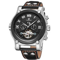 US $65.43 - 2016 Fashion Mens Mechanical Watches Mens Multifunction Military Automatic Date Calendar Leather Male Mechanical Wristwatches