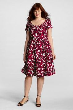 Butterflies! -Women's Plus Size Short Sleeve Sateen V-back Fit and Flare Dress from Lands' End