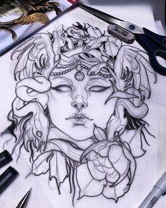 medusa disegno tattoos – Tattoo Tips Tattoo Girls, S Tattoo, Tattoo Drawings, Body Art Tattoos, Girl Tattoos, Tattoo Flash, Neck Tattoos, Sleeve Tattoos, Tatoos